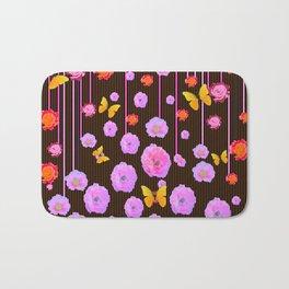 YELLOW BUTTERFLIES AMONG  FLOATING PINK  ROSES Bath Mat