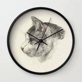 Vintage Cat Illustration Wall Clock