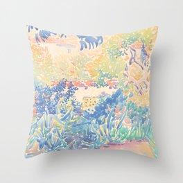 The Artist's Garden at Saint-Clair by Henri-Edmond Cross 1904-5, French Throw Pillow