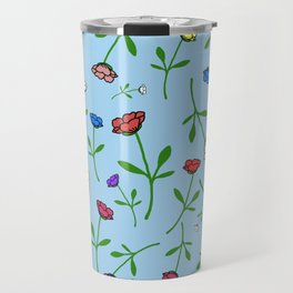 Colorful Flower Toss Travel Mug