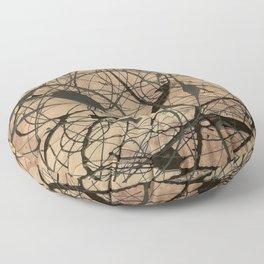 Pollock Inspired Abstract Black On Beige Floor Pillow