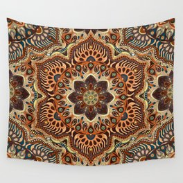 Colorful abstract ethnic floral mandala pattern design Wall Tapestry