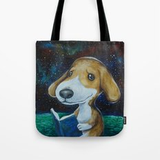 Dog Reading Tote Bag