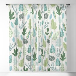 Forest Leaf Collage Sheer Curtain