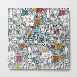 animal ABC indigo multi Metal Print