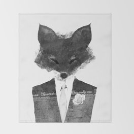 minima - dapper fox | noir Throw Blanket