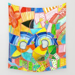 Happy Pattern with two Half Circles and one single Flower Wall Tapestry