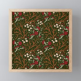 red mushrooms on green Framed Mini Art Print