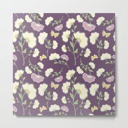 Fanned Flowers with Butterflies, grape Metal Print