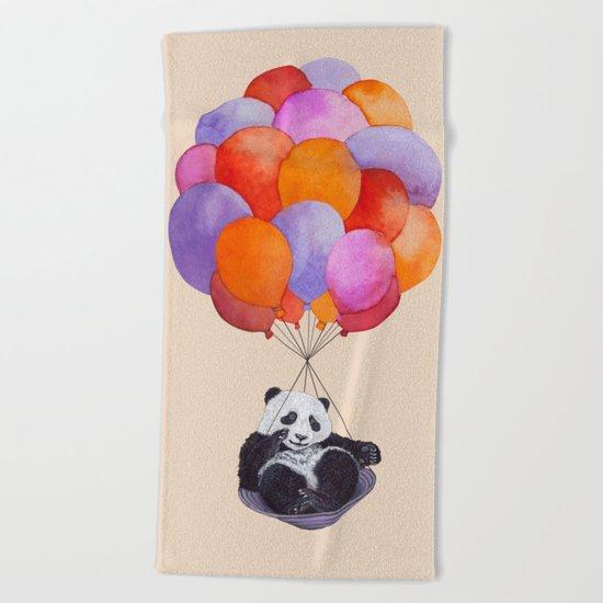 Panda flying with balloons Beach Towel