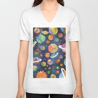 planet V-neck T-shirts featuring Planet by Michaella Fonseca
