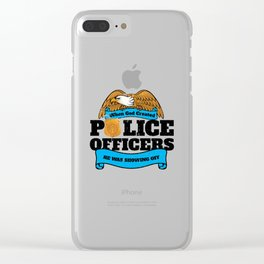 God Created Police Officers Showing Off Clear iPhone Case