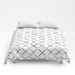 Gray Blue XX Abstract Watercolor Pattern Comforters