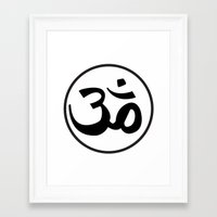 om Framed Art Prints featuring Om by Albino Chewbacca