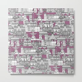 Paris toile raspberry Metal Print