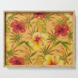 Leave And Flowers Pattern Serving Tray