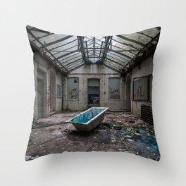 The Bath, abandoned school Throw Pillow