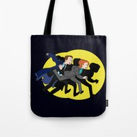 mulder Tote Bags featuring Great Snakes, Mulder. by Anna Valle