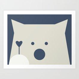 Peek-a-Boo Bear with Heart, Warm Gray and Navy Blue Art Print
