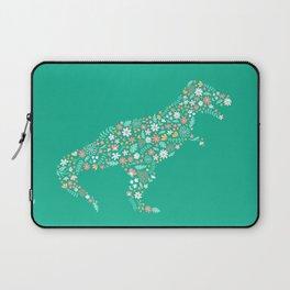 Floral T-Rex in Teal Laptop Sleeve