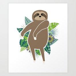 Floss Dance Move Sloth Art Print