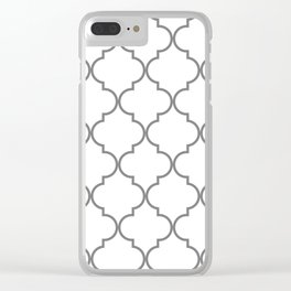 Quatrefoil - Gray and White Clear iPhone Case