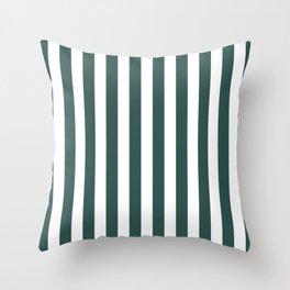 Vertical Stripes (Dark Green & White Pattern) Throw Pillow