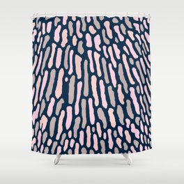 Organic Abstract Navy Blue Shower Curtain