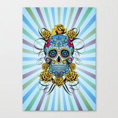 Sugar skull- Day of the dead- blue Canvas Print