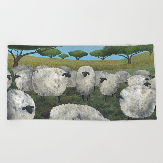 greener pasture Beach Towel