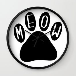 Meow Cat Paw Wall Clock