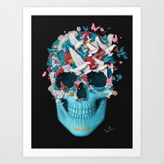Skull Wings Black Art Print