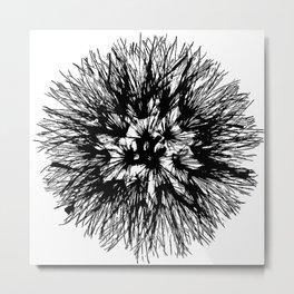 Make A Wish Dandelion Vector In Black Metal Print