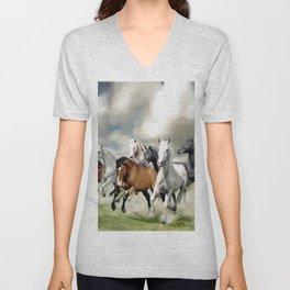 8 Horses Running Unisex V-Neck