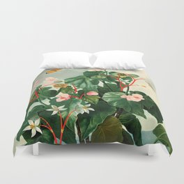 Pink Floral The Oblique-Leaved Begonias : Temple of Flora Duvet Cover