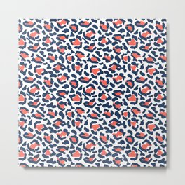 Abstract Leopard Print in Coral and Navy Blue Metal Print