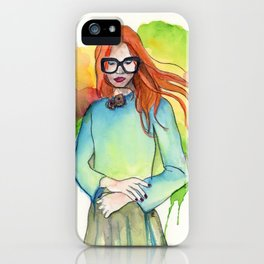 Red Haired Girl with Glasses, Head in the Clouds iPhone Case