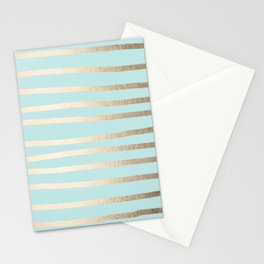 Simply Drawn Stripes White Gold Sands on Succulent Blue Stationery Cards