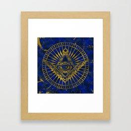 All Seeing Mystic Eye in Masonic Compass on Lapis Lazuli Framed Art Print