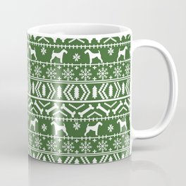 Airedale terrier fair isle silhouette christmas sweater green and white holiday dog gifts Coffee Mug