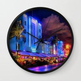 South Beach Miami City Lights by Jeanpaul Ferro Wall Clock