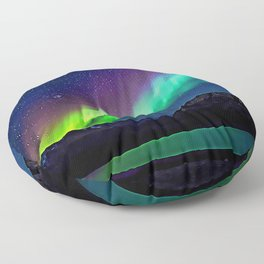 A Spectacle Of Polar Lights | Oil Painting Floor Pillow