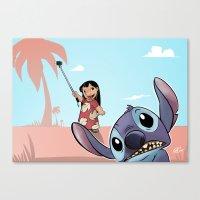 lilo and stitch Canvas Prints featuring Lilo and Stitch by Gaetano Caltabiano Design