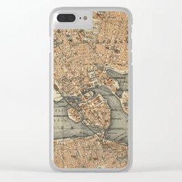 Vintage Map of Stockholm Sweden (1909) Clear iPhone Case