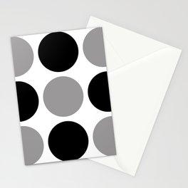 Mid Century Modern Polka Dot Pattern 9 Black and Gray Stationery Cards