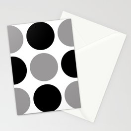 Mid Century Modern Polka Dot Pattern 9 Black and Gray Stationery Cards