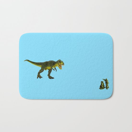 Dinosaurs vs Toy Soldiers Bath Mat