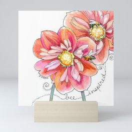 """bee inspired"" watercolor flower garden art Mini Art Print"