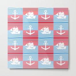 Sailboat and anchor pattern Metal Print