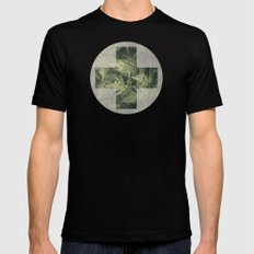 SHADED GREEN FERN X-LARGE Mens Fitted Tee Black
